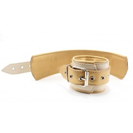 Бежевые кожаные наручники