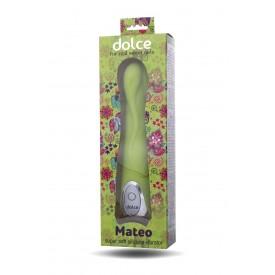 Зелёный вибратор Dolce Mateo - 16,5 см.